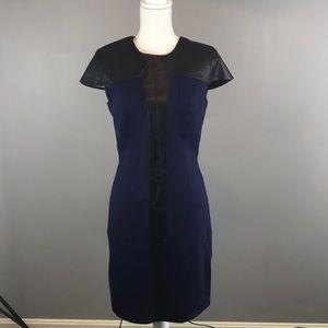 Cynthia Steffe. Leather Trim Sheath Dress. Bad Ass